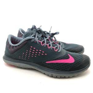 Nike FS Lite Run 2 Womens Running Shoes Pink Grey